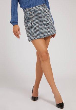 TWEED - Mini skirt - mehrfarbig/rundton blau