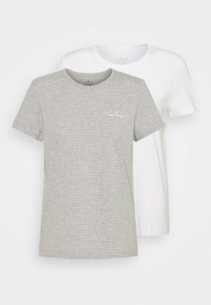 2PACK - Print T-shirt - whisper white/grey