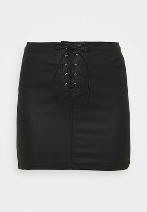 COATED SKIRT - Mini skirt - black