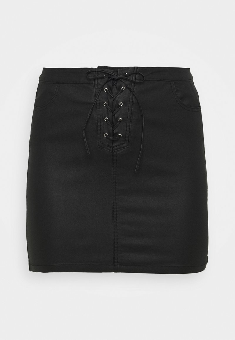 Missguided Plus - COATED SKIRT - Mini skirt - black