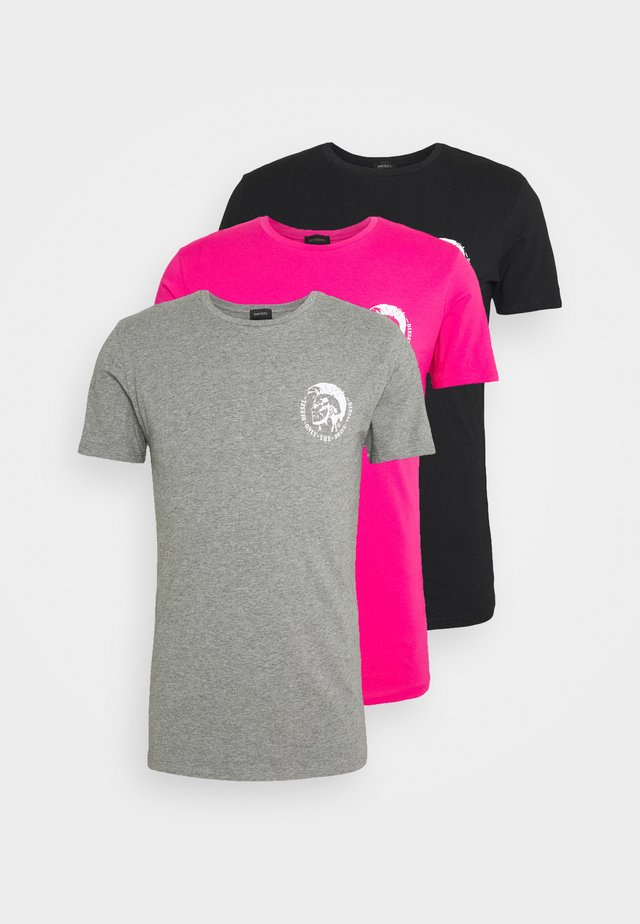 UMTEE RANDAL 3 PACK - T-shirt basic - black/pink/grey melange