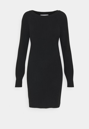 RIBBED OVERSIZED KNITTED MINI DRESS - Jumper dress - black
