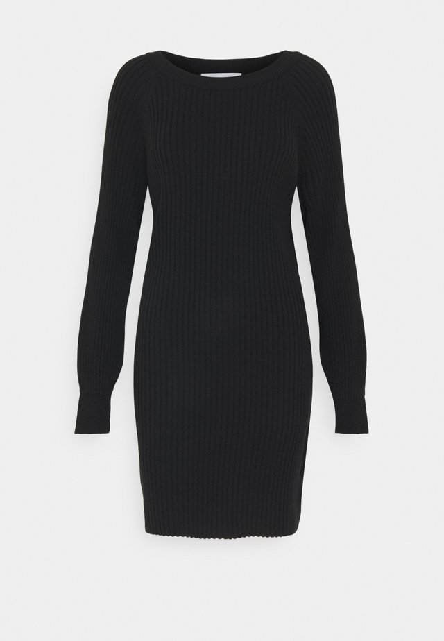 RIBBED OVERSIZED KNITTED MINI DRESS - Strikkjoler - black