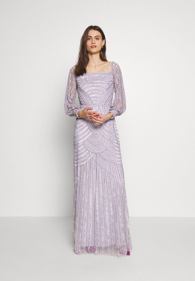 OFF SHOULDER LONG SLEEVE MAXI DRESS WITH EMBELLISHMENT - Gallakjole - soft lilac