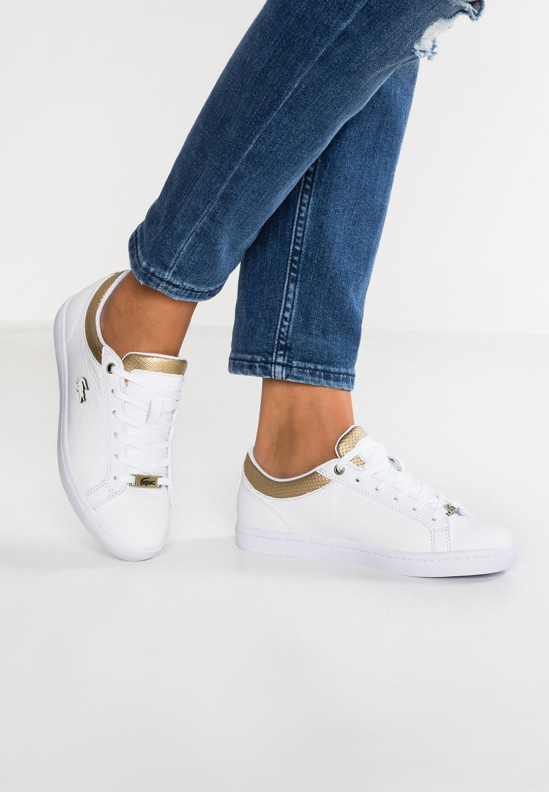 Lacoste - STRAIGHTSET CAW  - Sneakersy niskie - white/gold