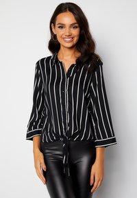 Bubbleroom - JULIETTE SS KNOT - Button-down blouse - black - 0