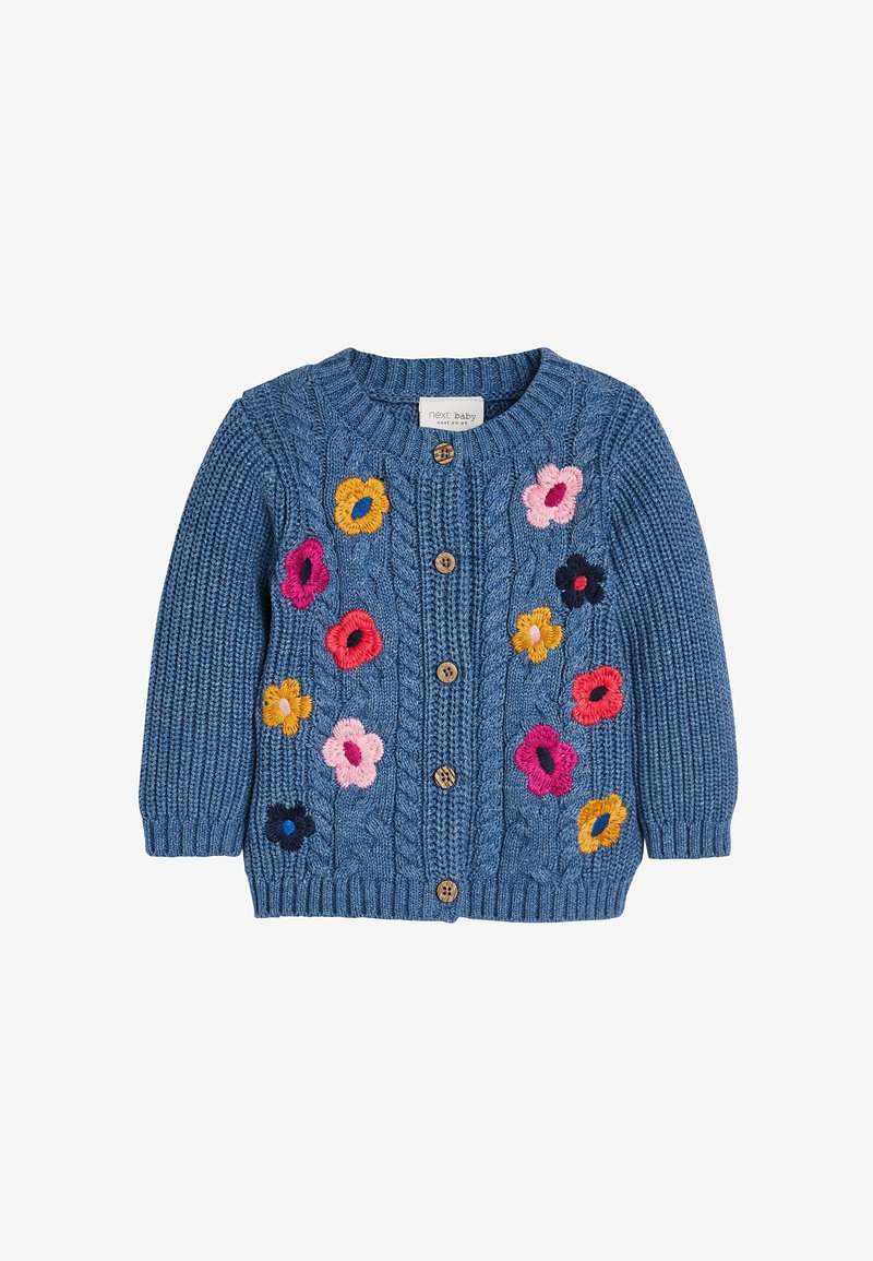Next - FLORAL EMBROIDERY CARDIGAN - Cardigan - blue