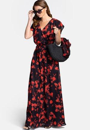 CHIFFON WRAP - Maxi dress - black and red flower