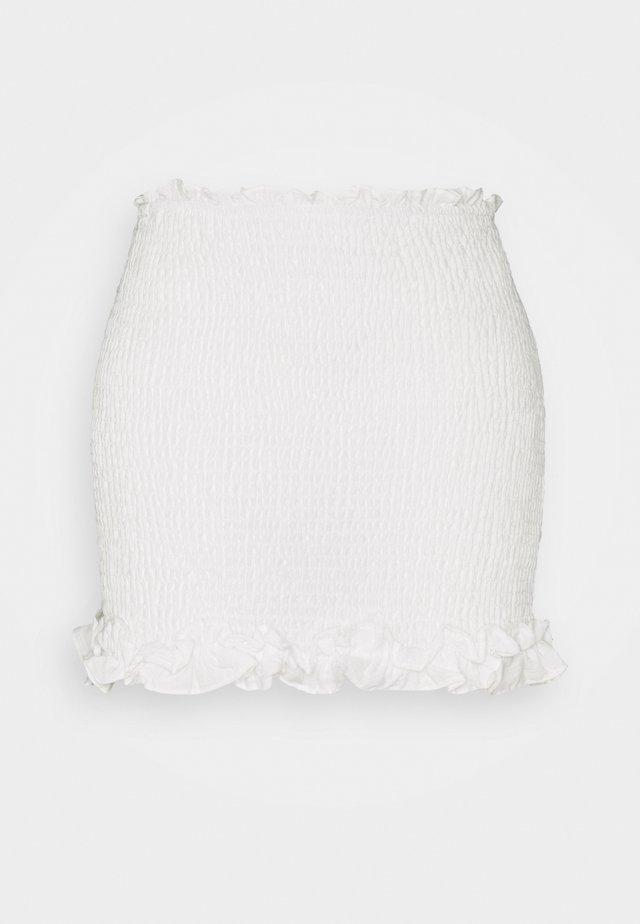 SMOCKED MINI SKIRT WITH HEMS - Minifalda - off white