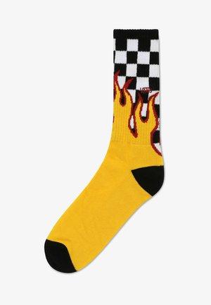 MN FLAME CHECK CREW (9.5-13, 1PK) - Strumpor - black-white check-flame