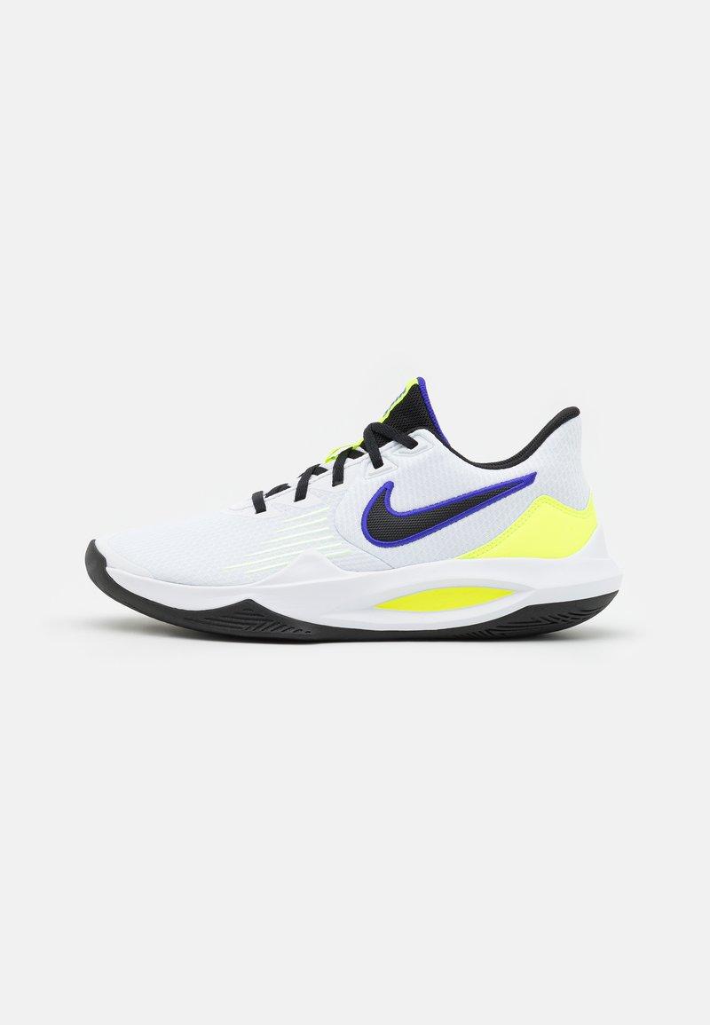 Nike Performance - PRECISION V - Basketball shoes - white/black/barely volt/volt