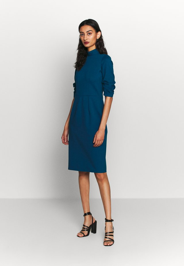 HIGH COLLAR PENCIL DRESS - Shift dress - blue