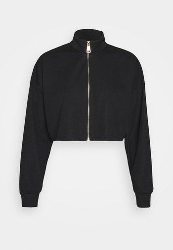 HARRY ZIP CROP HOODY - Zip-up sweatshirt - black