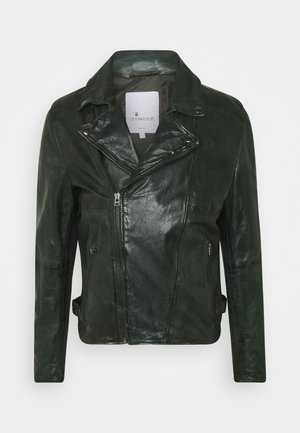BERLINER BIKER - Leather jacket - dark green