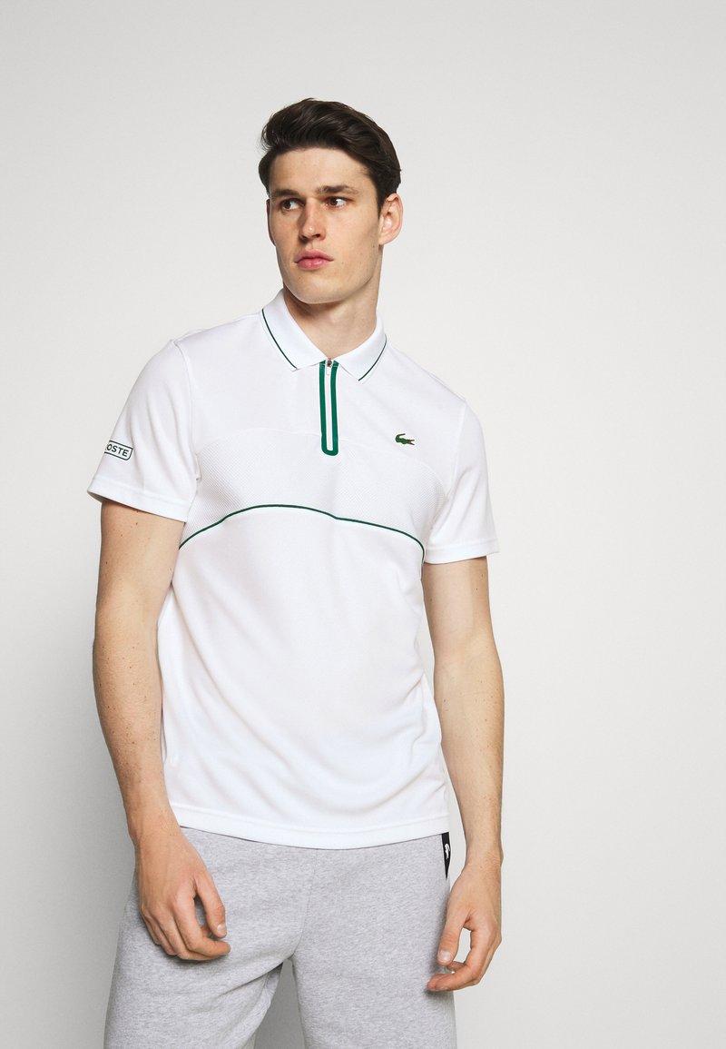 Lacoste Sport - TENNIS ZIP - Funkční triko - white/bottle green