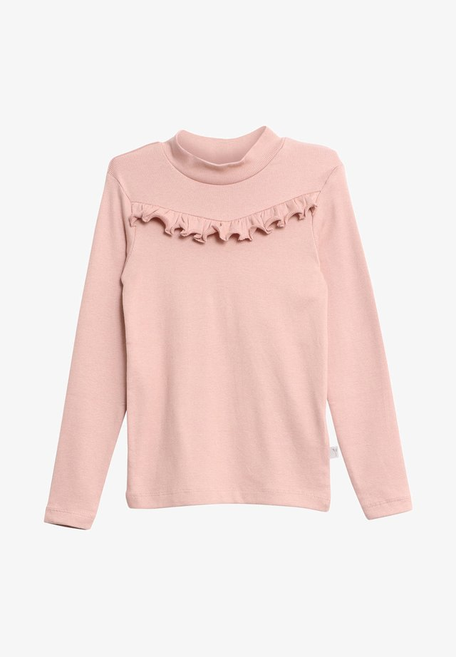 RIB RUFFLE - Long sleeved top - rose powder
