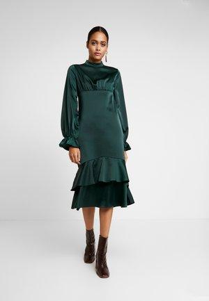 BALLON SLEEVE GATHERED MIDI DRESS - Cocktail dress / Party dress - dark green