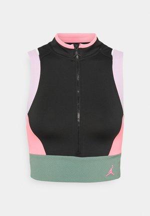 HEATWAVE CROP - Top - black/light arctic pink/dutch green