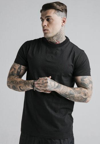 FITTED BOX TEE - T-shirt med print - black/grey