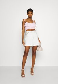 Missguided - TIE STRAP RUCHED CROP - Top - baby pink - 1