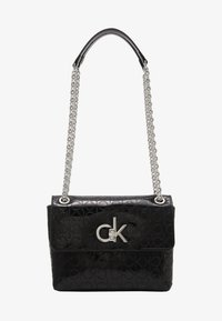 Calvin Klein - RE LOCK CROSSBODY - Torba na ramię - black - 1