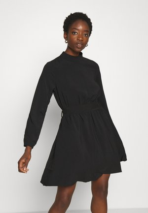 VIGORA TIE BELT HIGHNECK DRESS - Day dress - black