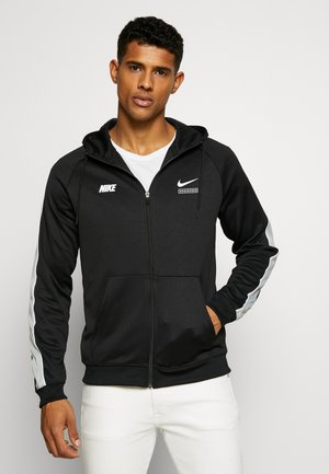 HOODIE - Training jacket - black/lt smoke grey/white
