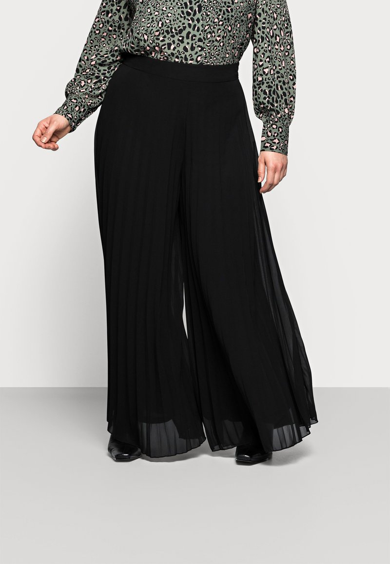New Look Curves - WIDE LEG - Trousers - black