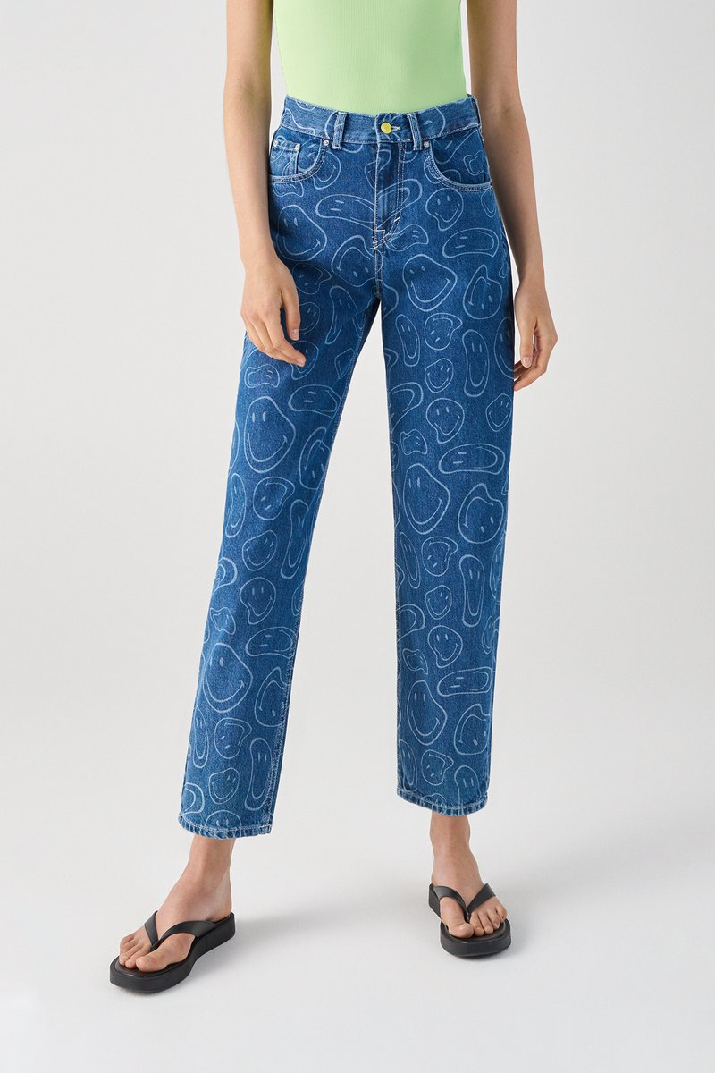 PULL&BEAR - SMILEY - Jeans Tapered Fit - blue