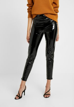 ZIP DETAIL TROUSERS - Stoffhose - black