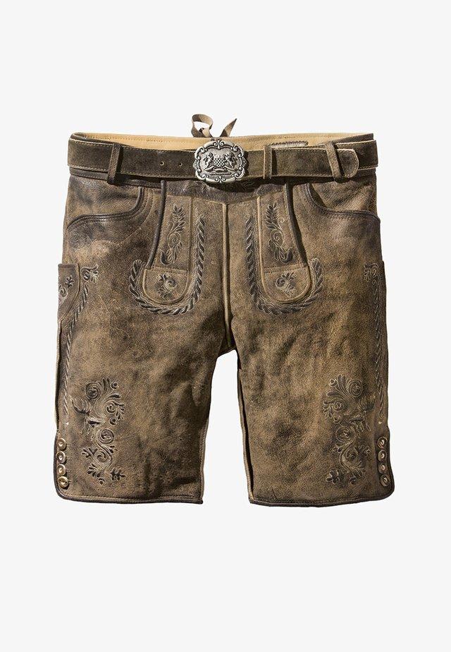 THOMAS - Leather trousers - stein
