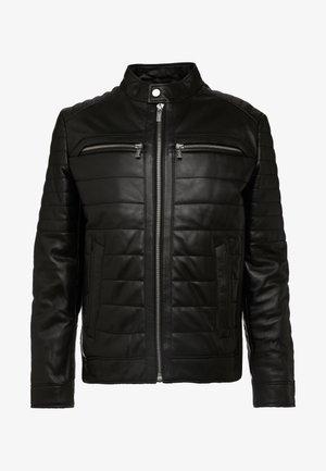 BIKER JACKET - Kožená bunda - black