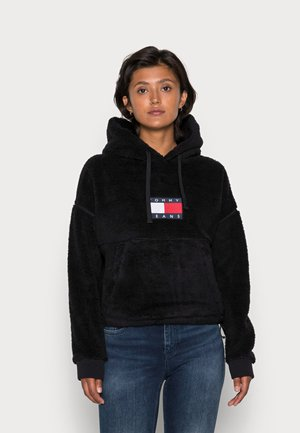CROPPED PLUSH HOODIE - Sweatshirt - black