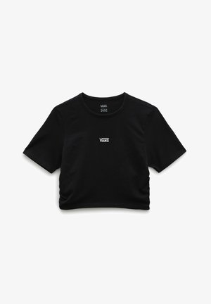WM SHEA ROUCHED CROP - T-shirt med print - black