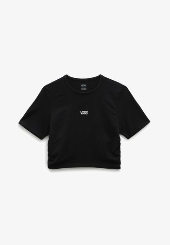 WM SHEA ROUCHED CROP - Print T-shirt - black