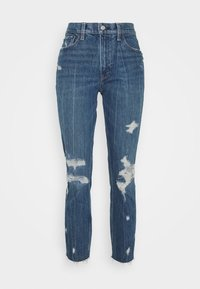 Abercrombie & Fitch - MOM JEANS - Slim fit jeans - dark wash with destroy - 4