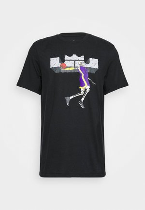 DRY TEE LOGO - T-shirt con stampa - black/court purple