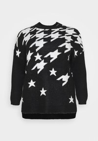 CAPSULE by Simply Be - COSY BOYFRIEND HOUNDSTOOTH STAR JUMPER - Jumper - black/ivory - 4