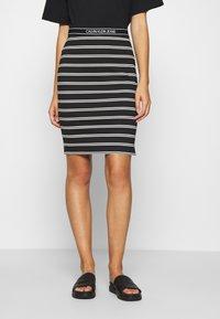 Calvin Klein Jeans - LOGO STRIPE MILANO SKIRT - Pencil skirt - black/creamy white - 0
