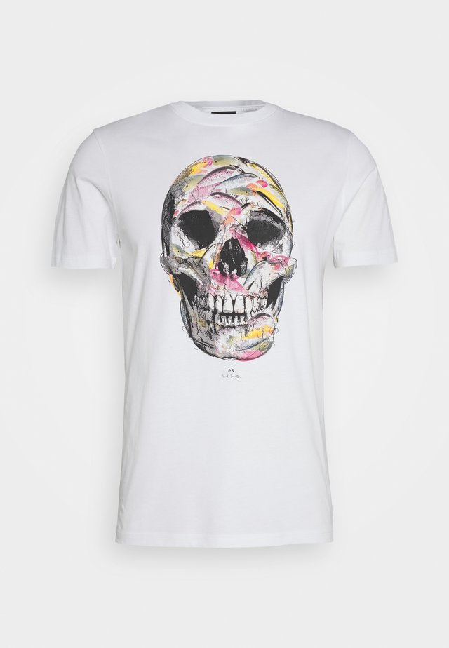 MENS SLIM FIT SKULL - Printtipaita - white