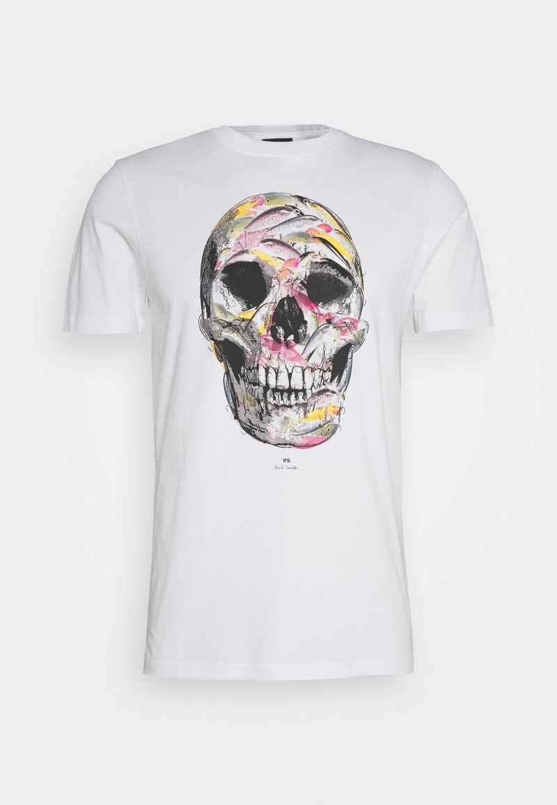 PS Paul Smith - MENS SLIM FIT SKULL - Print T-shirt - white