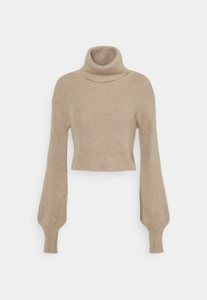 CROPPED TURTLENECK - Jumper - beige
