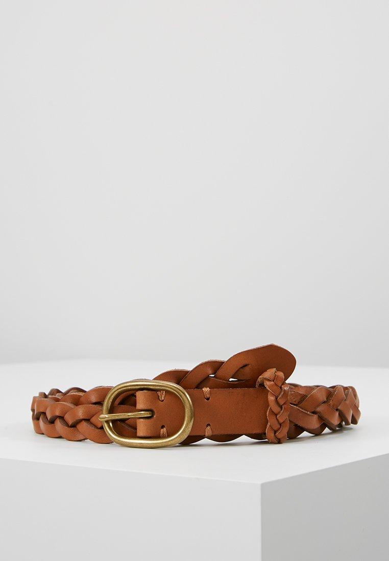 Polo Ralph Lauren - SMOOTH VACHETTA SKINNY BRAID - Pletený pásek - tan