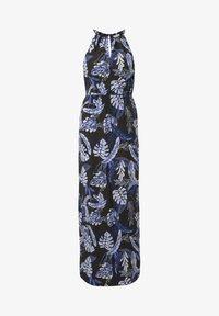 black blue tropical print