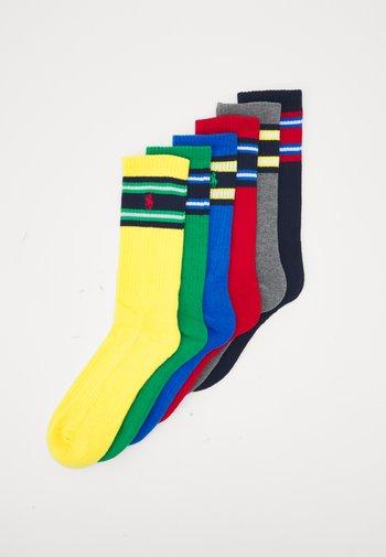 CREW SOCK 6 PACK - Ponožky - yellow/grey/ green