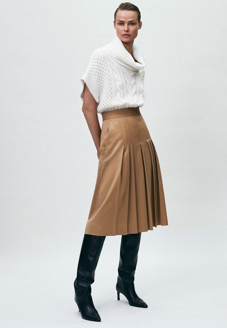 Massimo Dutti - Pleated skirt - nude