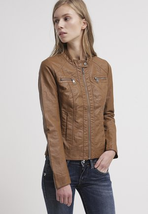 BANDIT BIKER - Faux leather jacket - cognac