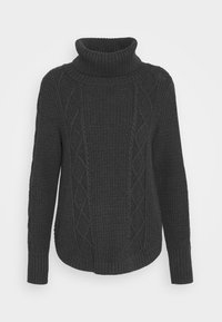 CABLE T NECK - Jumper - charcoal