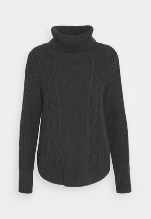 CABLE T NECK - Svetr - charcoal
