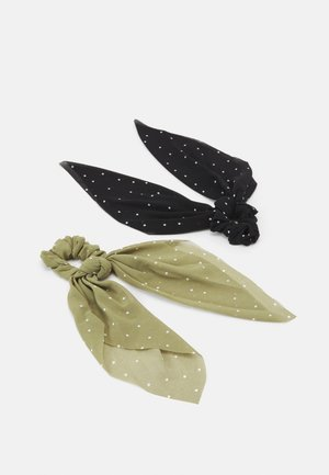 PCAMELIA BOW SCRUNCHIE 2 PACK - Hair Styling Accessory - black/olive/white